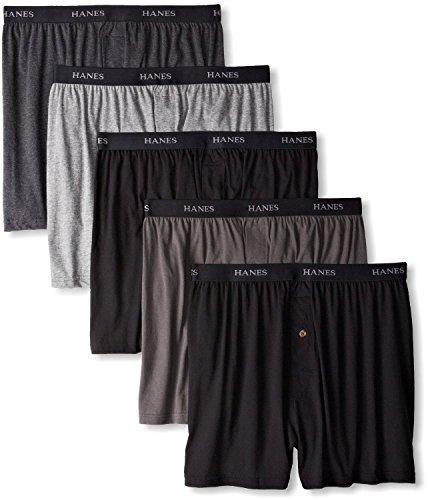 Hanes Men's 5Pack 100% Cotton Knit Boxer Shorts Boxers Underwear, 2XL