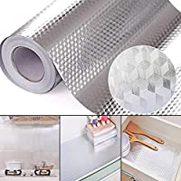 DishyKooker 2/3/5M Aluminum Foil Self Adhesive Waterproof High Temperature Resistance Kitchen Stickers for Stove Cabinet Diamond 40 cm * 2 m Household Product