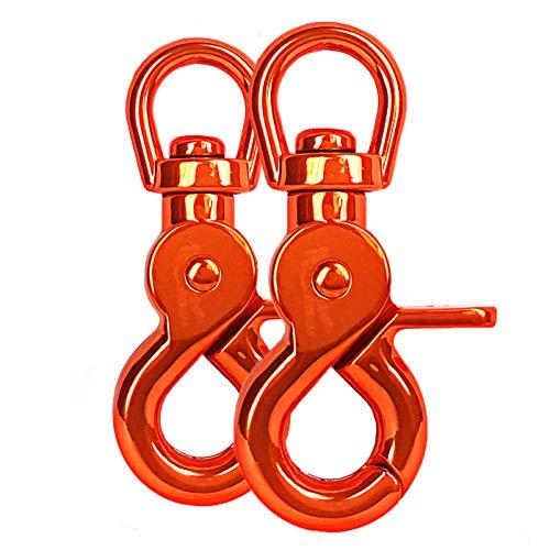 Ganzoo Scheren-Karabiner Haken mit Dreh-Gelenk/Dreh-Kopf für Hunde-Leine/Hals-Band 2er Set, legierter Stahl ? 61mm Länge, auch für Paracord 550 / Schlüssel-Anhänger, Farbe: orange