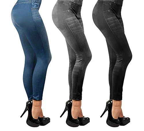 takestop® LEGGINGS ELASTICIZZATO TAGLIA S/M SEXY SLIM SKIRT EFFETTO JEANS PANTALONE MODELLANTE DIMAGRANTE colore casuale