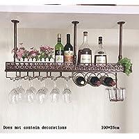 Global- Hierro retro estilo industrial Material Estantes de vinos / Estante de copa de vino