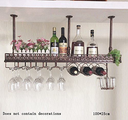 Global- Hierro retro estilo industrial Material Estantes de vinos / Estante de copa de vino / Estante de copas / Estantes de barra, Bar restaurante Salón Estante de decoración para el hogar ( Color : Bronze-#1 , Tamaño : 100*25cm )