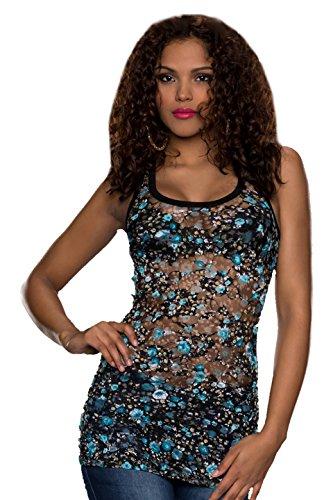 Fiori, estate, per feste Sexy, da donna, stile Casual, taglia unica, motivo floreale, 6, 8, 10, UE 34, 36, 38 cm Blu