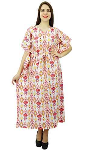Phagun Ikat Print Longue Maxi Kaftan Caftan Coton Vêtements De Nuit Vêtements De Dress Off Blanc et rouge