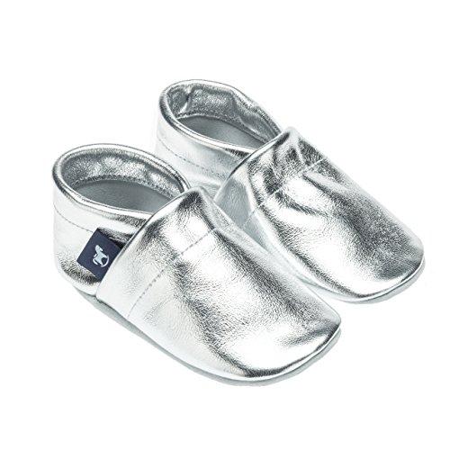 pantau.eu Leder Krabbelschuhe Babyschuhe Lederpuschen Lauflernschuhe in Unifarben Silber