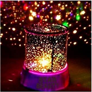 Aeeque Amazing Romantic Pink LED Night Light Projector Lamp, Colorful Star Master Light, Bedside Lights (with USB Cable)