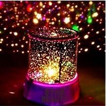 Aeeque® [Rosado] romántico mini LED estrella Proyector Lámpara [con USB cable] lamparilla para niños bebés Lámpara de noche dormitorio decoración casa regalos Navidad