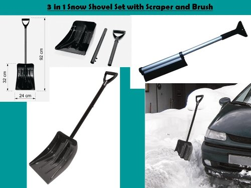 3 in 1: Emergency KFZ Eiskratzer mit Schneebesen Und Bürste Set