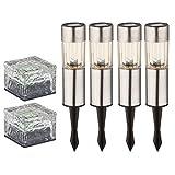 6er Set LED Solar Steck Leuchten Edelstahl Garten Weg Außen RGB Farbwechsel Glas Würfel Steh Lampen