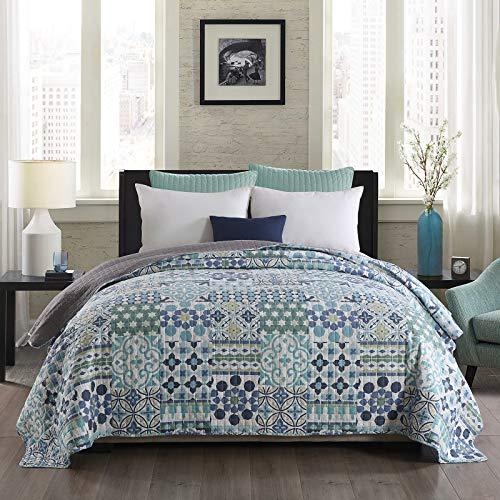WOLTU® BD13m04, Tagesdecke Bettüberwurf Steppdecke Patchwork Wendedesign Bettdecke Stepp Decke Doppelbett unterfüttert und gesteppt, 240x260 cm