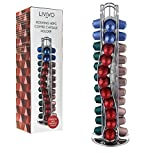 LIVIVO ® Coffee Capsule Holder - Rotating Tower Stand Dispenser Holds Up To 40 Nespresso Pods - Organise and Display your Coffee Pods in Style - Free Up Space in your Kitchen - Tower Stand Dispenser with Non Slip Felt Base - Made from High Quality Chrome Plated Stainless Steel (40 Nespresso)