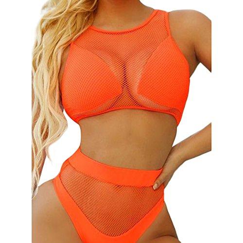 Frauen Fischnetz Bikini Set Mesh Sheer Patchwork Tank hohe Taille Bademode Bade