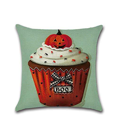 Halloween Deko Grusel Dekoration Set 45 * 45cm Halloween Kuchen Serie Kissenbezug 602 Modelle 1 Packung für Halloweendeko Make-up-Party Halloween Dekoration