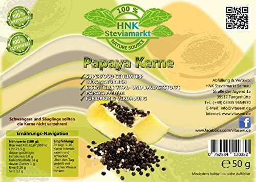 100% Natürliche Papaya Kerne - Papaya Pfeffer - Papaya Samen getrocknet (Bei unter 30°C) - Rohkost Qualität - Ohne Zusätze   Reich an Vitalstoffen   50g Dose -