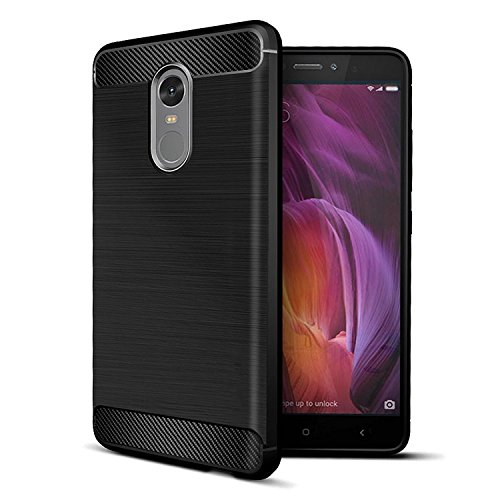 Redmi note 4 Back Cover,Redmi note4 Case cover ,Ultra Light Carbon Fiber Armor Shock Proof Brushed Silicone Grip Case For Xiaomi Mi Redmi note 4 / note4 / note 4 / mi redmi note 4 back cover By RIdhaniyaa. - BLACK.