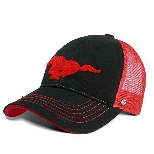 Ford Lifestyle Collection New Genuine Ford Mustang Trucker Style Baseball Cap Hat in Red & Black 35021313