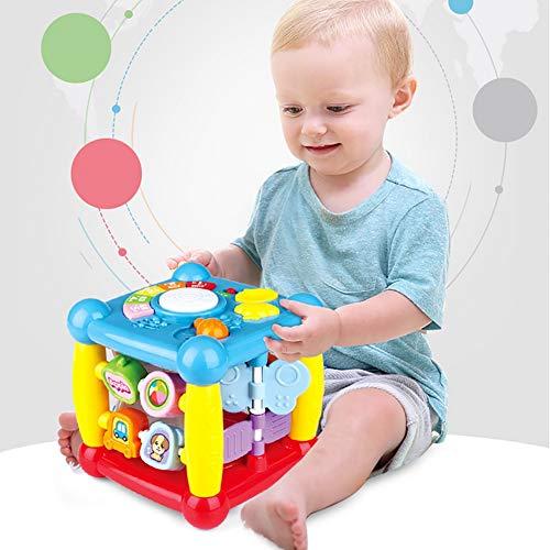 ZNDDB Kinder pädagogisches Spielzeug Würfel Musik Licht 5 Lieder Briefe identifizieren Multifunktion Hexaeder - Frühe Erziehung Spielzeug