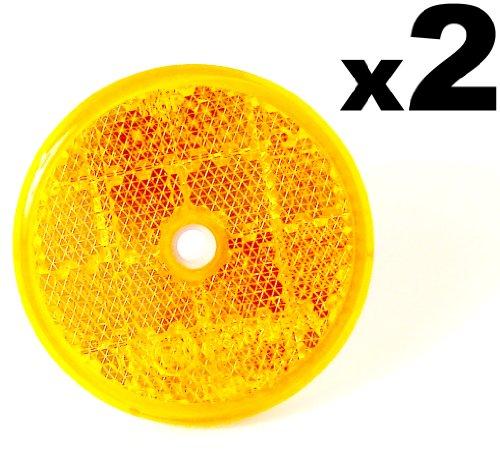 2x Orange Reflektoren 59mm - Rückstrahler Katzenaugen Rückleuchten -Wohnwagen und Anhänger - Kostenloser Versand!