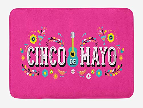 ASKYE Cinco De Mayo Bath Mat, Mexican Fiesta Party Theme with Guitar Margarita Peppers and Flowers, Plush Bathroom Decor Mat with Non Slip Backing, 23.6 W X 15.7 W Inches, Pink and Multicolor