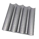 Htinac - Teglia antiaderente con 4onde termoresistenti per cuocere baguette, Stampi perforati per baguette 37,8cm x 32,7cm x 2,5cm