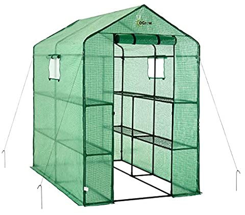oGrow Large Heavy Duty Walk-In 2-Tier 8-Shelf Portable Lawn and Garden Greenhouse 4ft x 6ft