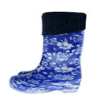 XIAYUT Rain Boots For Women,Fashion Simple Outdoor Blue Print Plus Velvet To Keep Warm Middle Tube Rubber Waterproof Rain Shoes Low-Heeled Ladies