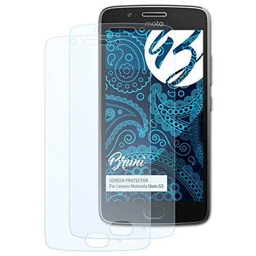 Bruni Schutzfolie kompatibel mit Lenovo Motorola Moto G5 Folie, glasklare Bildschirmschutzfolie (2X)