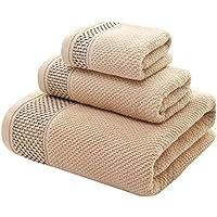 Zhaoke - Juego de 3 toallas de baño de algodón para casa o hotel, algodón, marrón claro, talla única
