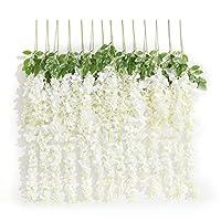 Huata 10PCS 3.2 Feet Artificial Flower Silk Wisteria Vine Ratta Hanging Wedding Decor Garlands(White)