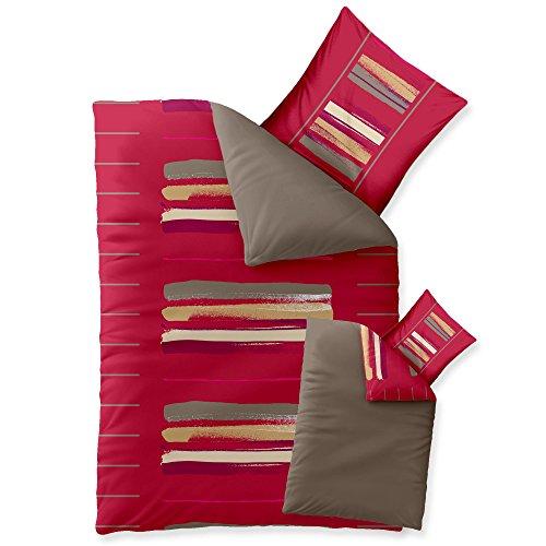 Bettwäsche 155x220 Baumwolle, Trend Helina uni Streifen rot grau beige Wendedesign aqua-textil 0011729