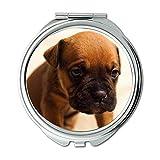 Espejo compacto, diseño de perro cachorro y mascota, color marrón sentado trenzado, espejo de bolsillo, espejo portátil