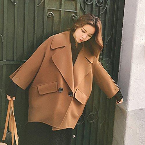 XuankuDer Frauen? Jacke Reine Farbe, Double-Coats des Staplers Ist Groß Roll'S Kragen Double-Women Brutto? Schwarz S - Roll-kragen-jacke