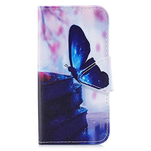 iPhone X hülle, Voguecase Kunstleder Tasche PU Schutzhülle Tasche Leder Brieftasche Hülle Case Cover für Apple iPhone X(Violett Weiß Löwenzahn) + Gratis Universal Eingabestift Blauer Schmetterling 15