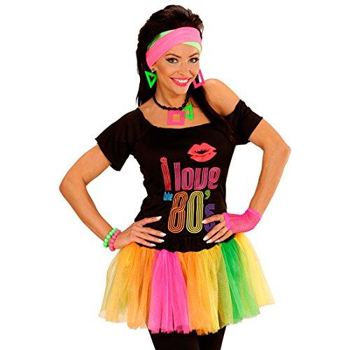 Amakando Buntes Tutu neonfarbenes Ballettröckchen 80er Kostüm Zubehör leuchtender Minirock greller Petticoat Mottoparty Outfit Disco Accessoire