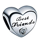 WAYA Argent Charmes Meilleur Ami Coeur Cristal Synthétique Perles Pour Pendentif Collier Bracelets Bracelet