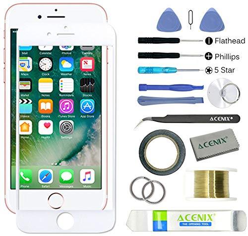 Acenix® kit di riparazione e ricambio schermo rotto per apple iphone 7, 17 pezzi, 1 rotolo di nastro biadesivo da 2 mm, 1 rotolo di filo molibdeno dorato, 1 pinzetta extra, 1 panno per pulizia di alta qualità, 1 ventosa, cacciaviti e leve in plastica