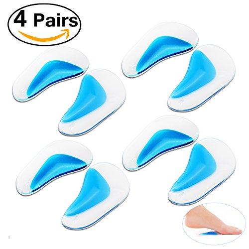 Pixnor Arco di sostegno solette Gel piedi massaggio piede piatto solette 4 coppie (8 cuscino pastiglie) taglia L