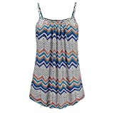 TUDUZ Women Camis Vest Tops Ladies Summer Sleeveless Printed Tank Tops Camisole Ruched Tunic Blouse (Blue,XL)