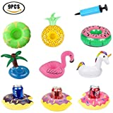 Portabevande gonfiabile Flamingo Sottobicchieri galleggianti Swan Swimming Pool Beach Party Cup Glass Holder 【9pcs】 con Air Pump