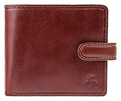 Visconti Tuscany Bi-Fold Tan Genuine Leather Wallet For Men With RFID Protection