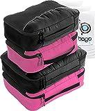 Packing Cubes 4pcs Value Set for Travel – Plus 6pcs Luggage Organiser Zip Bags (2Black+2Pink)