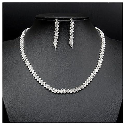 Santfe Bridal Rhinestone Necklace Earring Set Elegant Choker Collar Necklace Jewelry