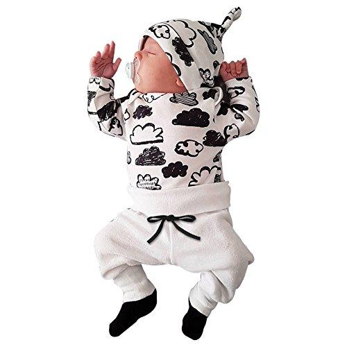 Battnot Baby Jungen Mädchen Bekleidungssets 3tlg Sets Unisex Hut+Langarm T-Shirt Tops+Hosen 3er Neugeborenes Wolke Druck Outfits, 3-18 Monate Kleinkind Kinder Boys Girls Herbst Frühling Kleidung Weiß