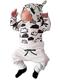 Covermason Bebé Unisex Nube Impresión Camisetas y Pantalones y Sombrero (3PCS/1 conjunto) (3-6M, Blanco)