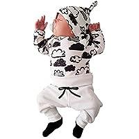 Covermason Bebé Unisex Nube Impresión Camisetas y Pantalones y Sombrero (3PCS/1 conjunto)