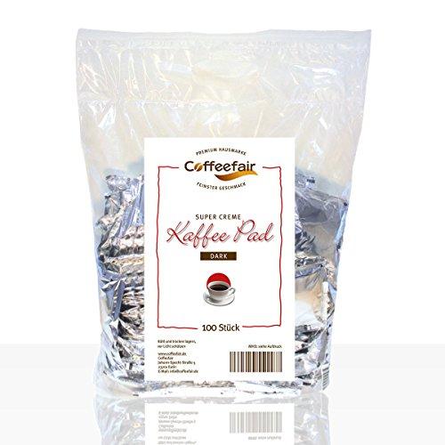 Kaffee-Pads Supercreme Dark Roast 100 Stück von Coffeefair | Megabeutel für sämtliche Padmaschinen wie Senseo