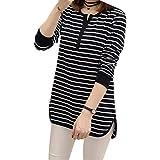 Arichtop Frauen Gestreifter T-Shirt mit V-Ausschnitt Langarm Baumwolle Mädchen-Spitze Pullover Tees