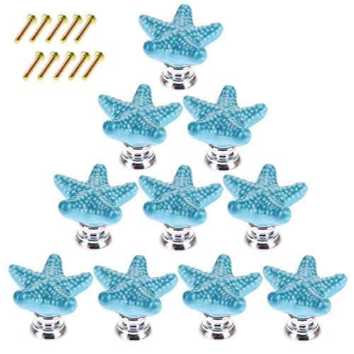 Giplar 10 Stück Kreative Seestern Möbelknöpfe Griff Möbelgriff Mode Keramik Kinder Porzellan Knopf für Schränke Schublade Kleiderschrank