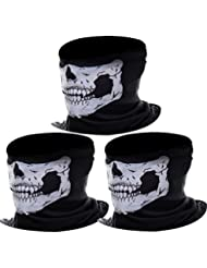 eBoot Tour de cou Masque Tête de Moto Ghost de Skeleton Skull (Noir, 3 Pack)