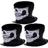 eBoot Tour de cou Masque Tête de Moto Ghost de Skeleton Skull (Noir, 3 Pack)